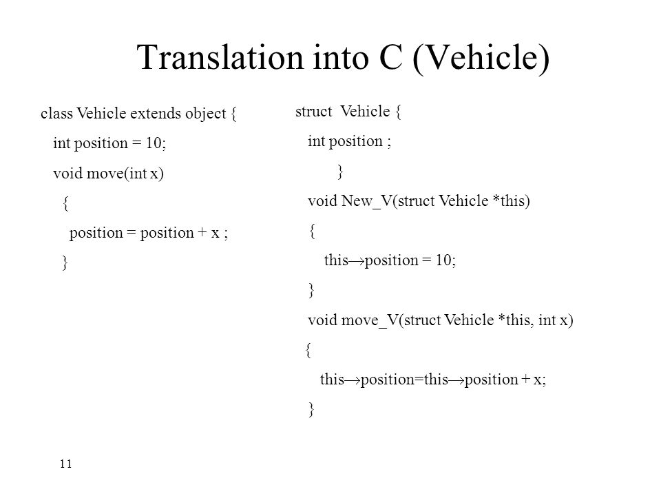 Translation into C (Vehicle) class Vehicle extends object { int position = 10; void move(int x) { position = position + x ; } struct Vehicle { int position ; } void New_V(struct Vehicle *this) { this  position = 10; } void move_V(struct Vehicle *this, int x) { this  position=this  position + x; } 11
