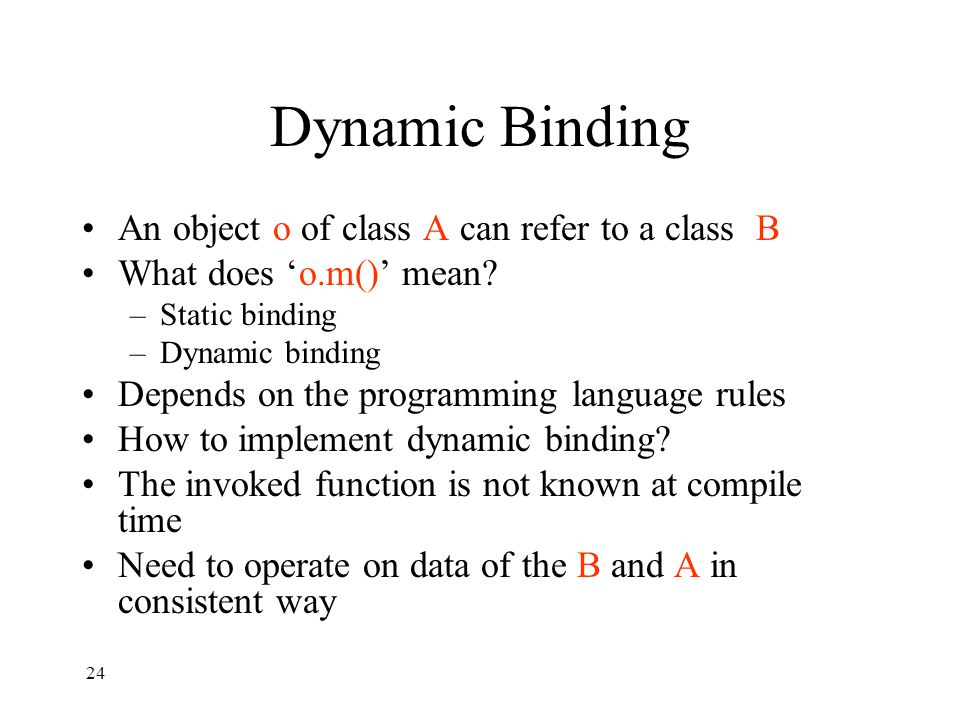 Dynamic Binding An object o of class A can refer to a class B What does 'o.m()' mean.
