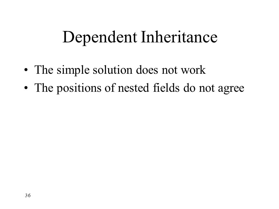 Dependent Inheritance The simple solution does not work The positions of nested fields do not agree 36