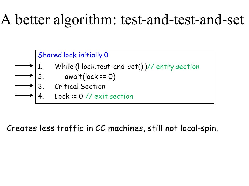 A better algorithm: test-and-test-and-set Shared lock initially 0 1.While (! lock.test-and-set() )// entry section 2. await(lock == 0) 3.Critical Sect