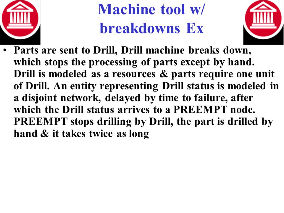 Machine tool w/ breakdowns Ex Parts are sent to Drill, Drill machine breaks down, which stops the processing of parts except by hand. Drill is modeled