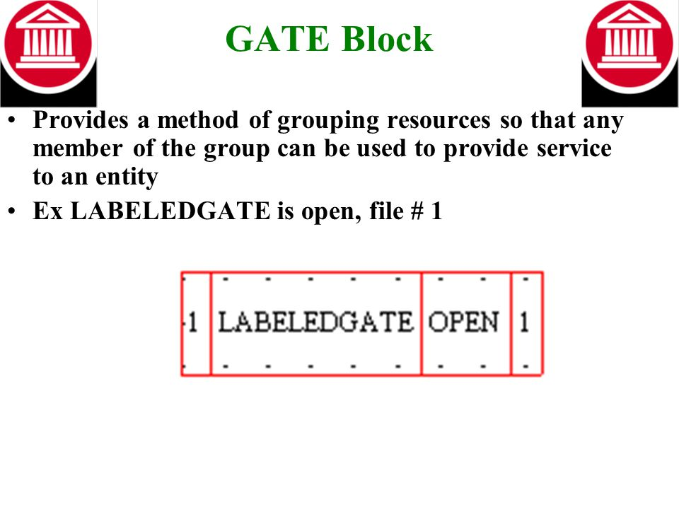 GATE Block Provides a method of grouping resources so that any member of the group can be used to provide service to an entity Ex LABELEDGATE is open,
