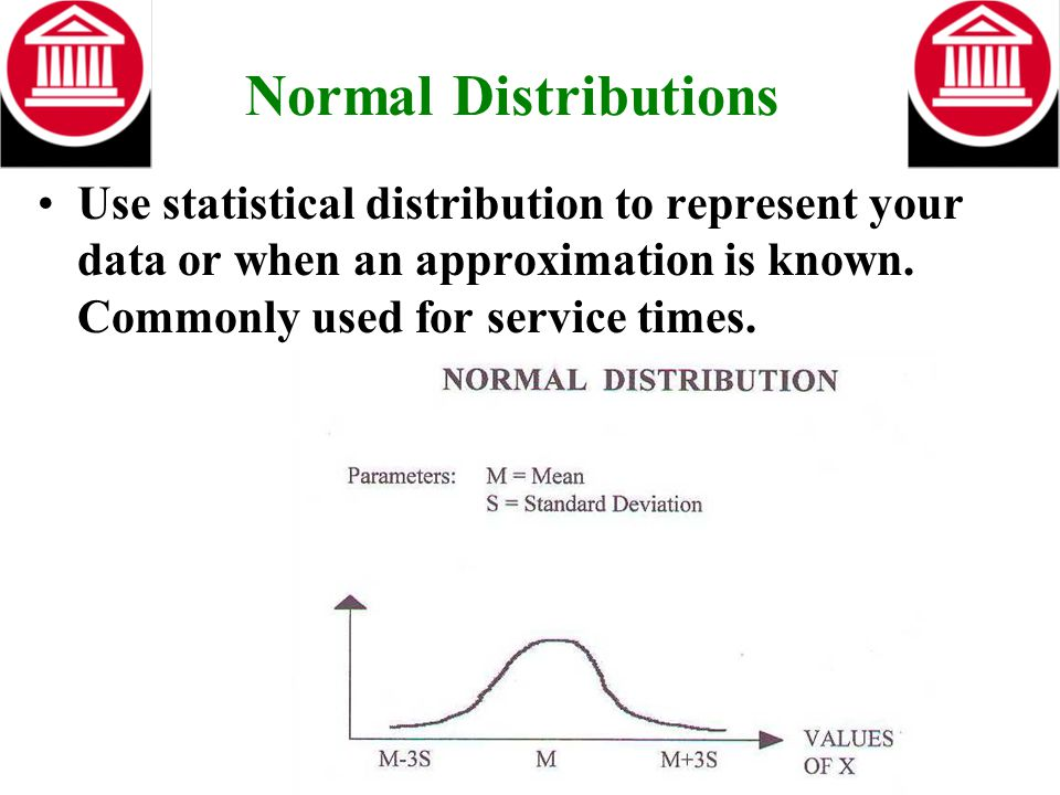 Normal Distributions Use statistical distribution to represent your data or when an approximation is known. Commonly used for service times.