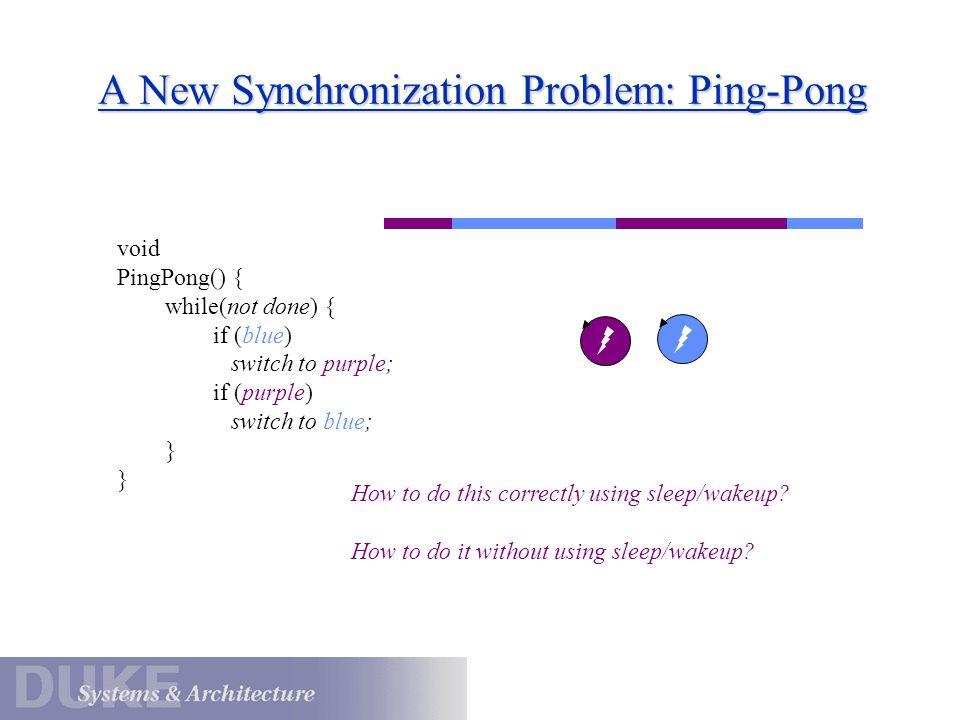 A New Synchronization Problem: Ping-Pong void PingPong() { while(not done) { if (blue) switch to purple; if (purple) switch to blue; } How to do this correctly using sleep/wakeup.