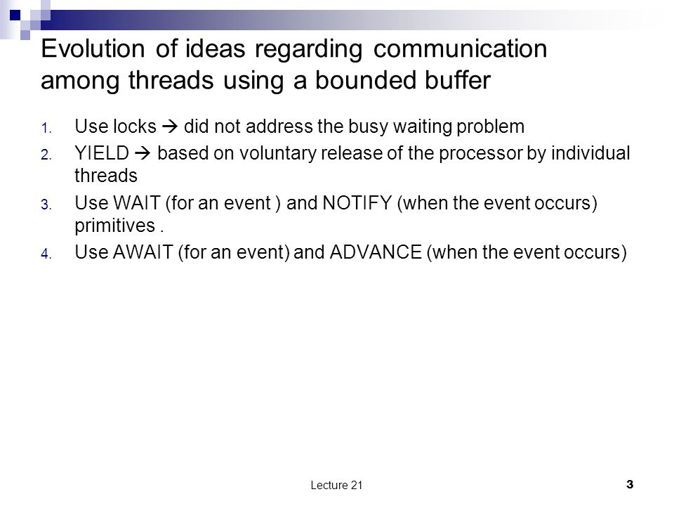 Evolution of ideas regarding communication among threads using a bounded buffer 1.