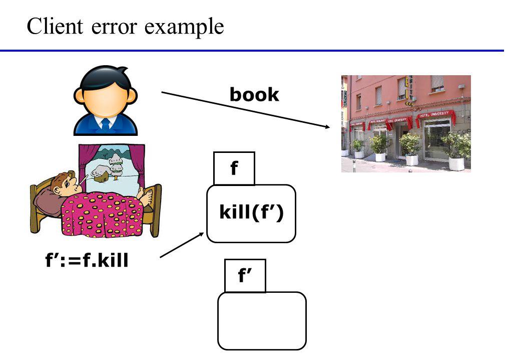 Client error example book f f':=f.kill kill(f') f'