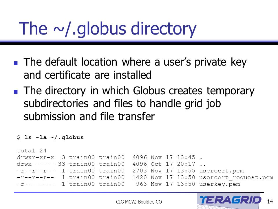 14 CIG MCW, Boulder, CO The ~/.globus directory The default location where a user's private key and certificate are installed The directory in which Globus creates temporary subdirectories and files to handle grid job submission and file transfer $ ls -la ~/.globus total 24 drwxr-xr-x 3 train00 train00 4096 Nov 17 13:45.