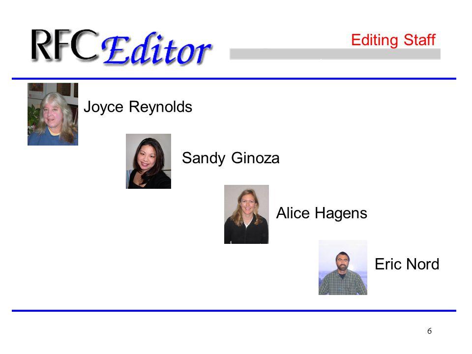 6 Editing Staff Joyce Reynolds Sandy Ginoza Alice Hagens Eric Nord