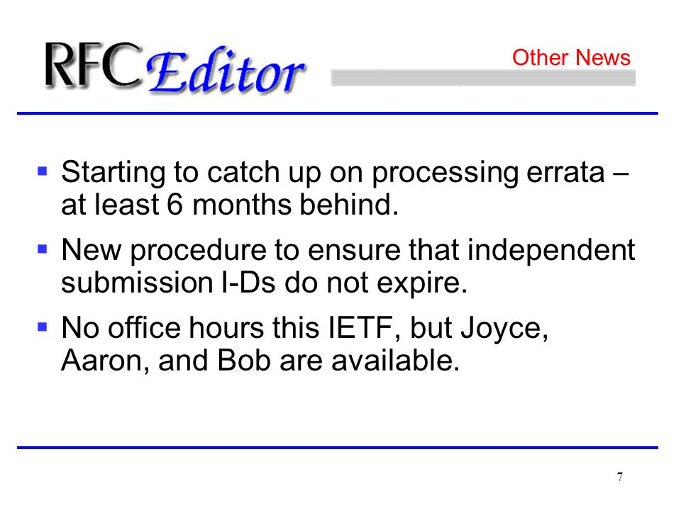 7 Other News  Starting to catch up on processing errata – at least 6 months behind.