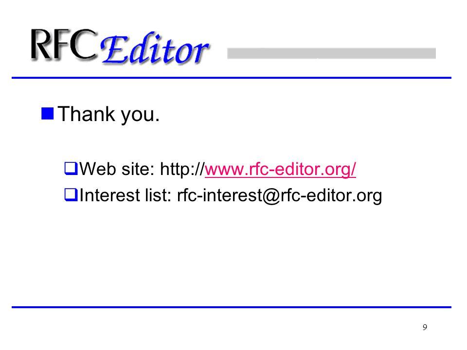 9 Thank you.  Web site: http://www.rfc-editor.org/www.rfc-editor.org/  Interest list: rfc-interest@rfc-editor.org