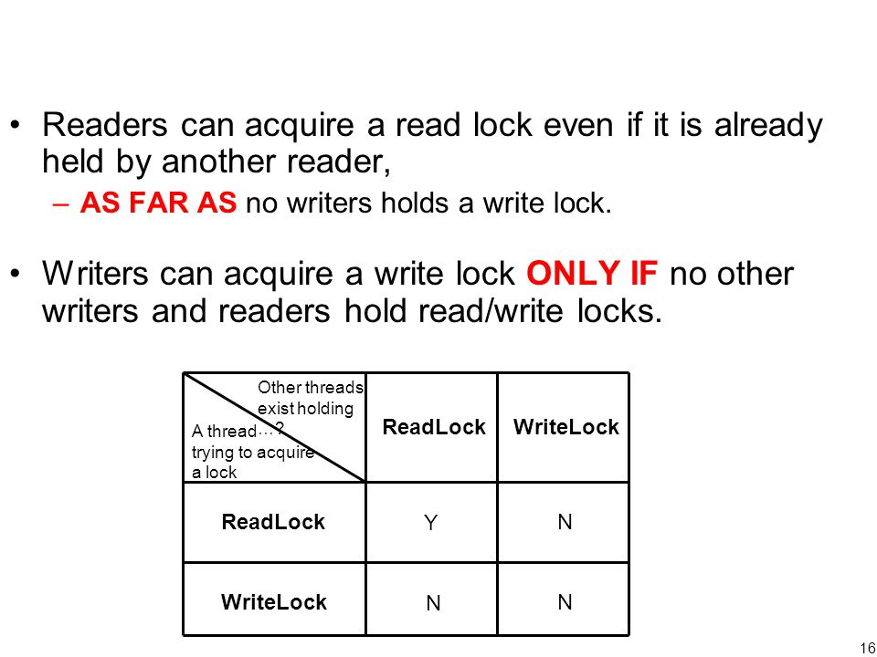 16 Readers can acquire a read lock even if it is already held by another reader, –AS FAR AS no writers holds a write lock. Writers can acquire a write