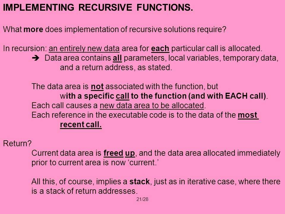 21/28 IMPLEMENTING RECURSIVE FUNCTIONS.