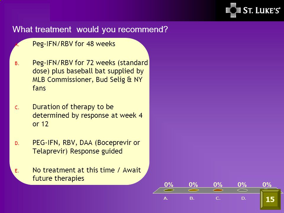 A. Peg-IFN/RBV for 48 weeks B.