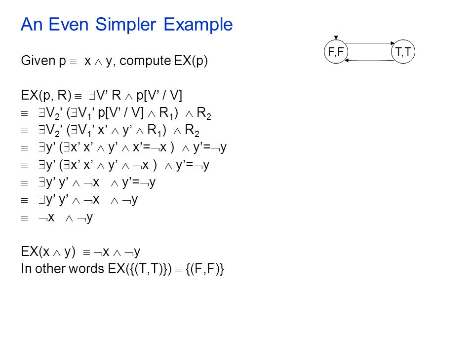 An Even Simpler Example Given p  x  y, compute EX(p) EX(p, R)   V' R  p[V' / V]  V 2 ' (  V 1 ' p[V' / V]  R 1 )  R 2  V 2 ' (  V 1 ' x'