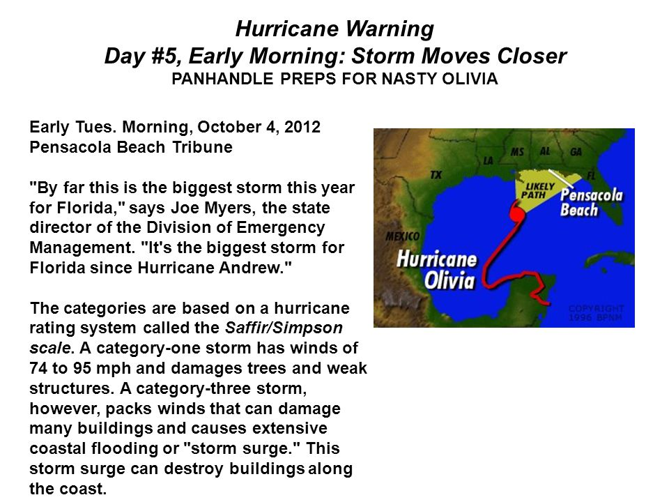 Hurricane Warning Day #5, Early Morning: Storm Moves Closer PANHANDLE PREPS FOR NASTY OLIVIA Early Tues.