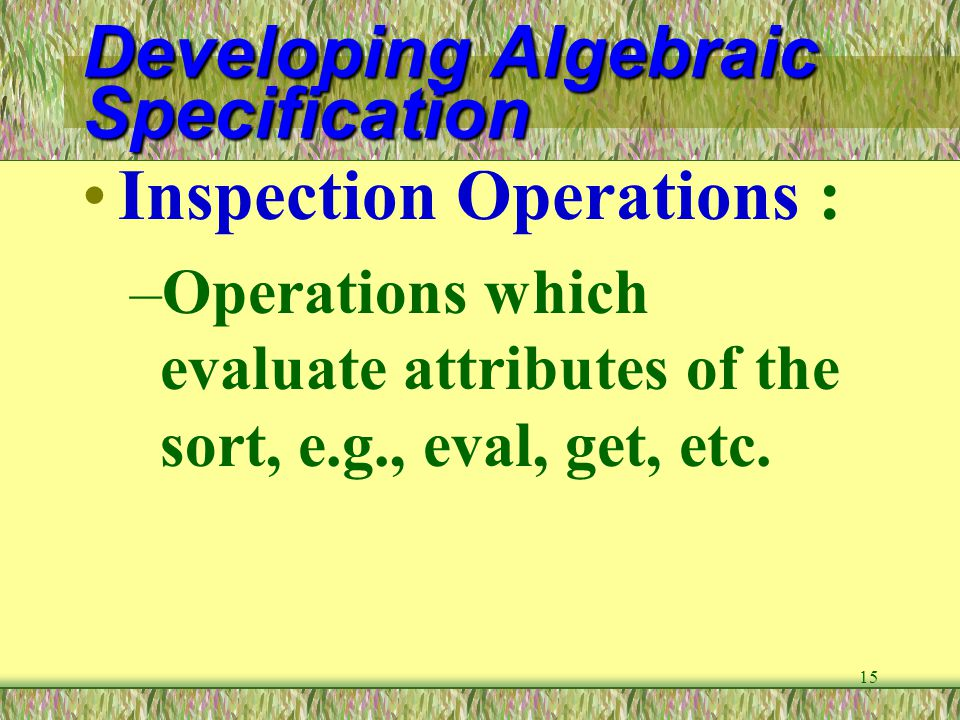15 Developing Algebraic Specification Inspection Operations : –Operations which evaluate attributes of the sort, e.g., eval, get, etc.