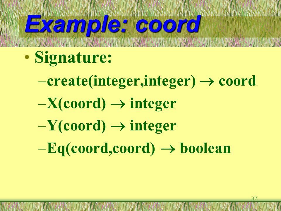 37 Example: coord Signature: –create(integer,integer)  coord –X(coord)  integer –Y(coord)  integer –Eq(coord,coord)  boolean