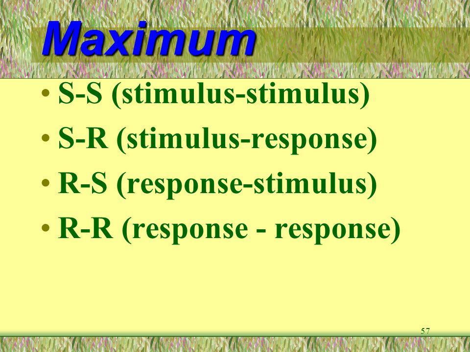 57 Maximum S-S (stimulus-stimulus) S-R (stimulus-response) R-S (response-stimulus) R-R (response - response)