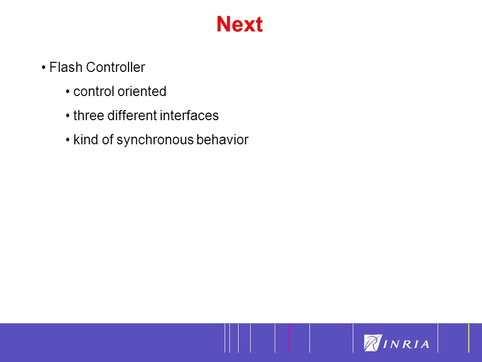 Next 17 Flash Controller control oriented three different interfaces kind of synchronous behavior