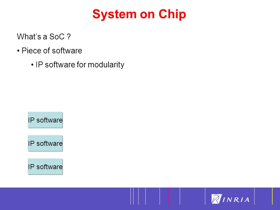 System on Chip 3 What's a SoC Piece of software IP software for modularity IP software