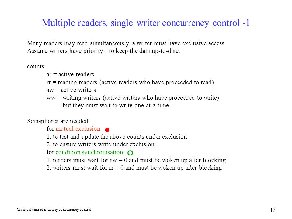 17 Multiple readers, single writer concurrency control -1 Many readers may read simultaneously, a writer must have exclusive access Assume writers hav