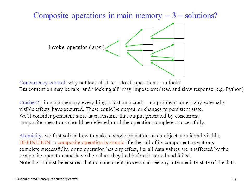 Composite operations in main memory – 3 – solutions.