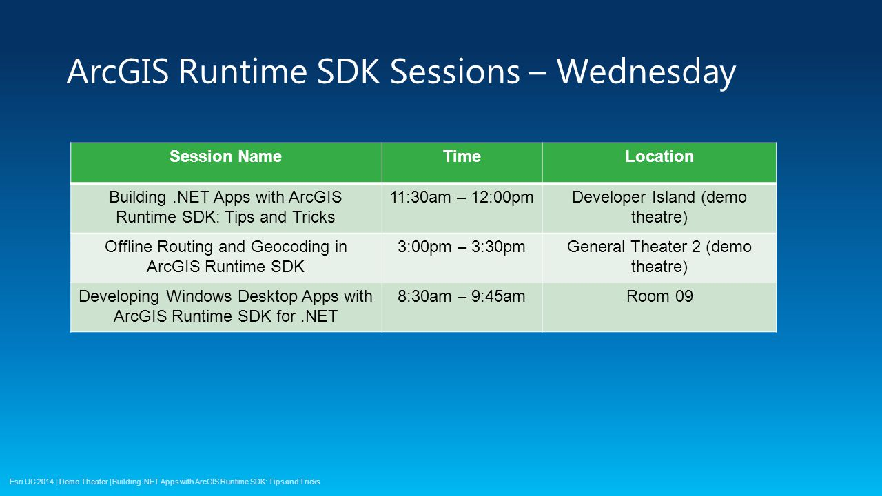Esri UC 2014 | Demo Theater | ArcGIS Runtime SDK Sessions – Wednesday Session NameTimeLocation Building.NET Apps with ArcGIS Runtime SDK: Tips and Tricks 11:30am – 12:00pmDeveloper Island (demo theatre) Offline Routing and Geocoding in ArcGIS Runtime SDK 3:00pm – 3:30pmGeneral Theater 2 (demo theatre) Developing Windows Desktop Apps with ArcGIS Runtime SDK for.NET 8:30am – 9:45amRoom 09 Building.NET Apps with ArcGIS Runtime SDK: Tips and Tricks