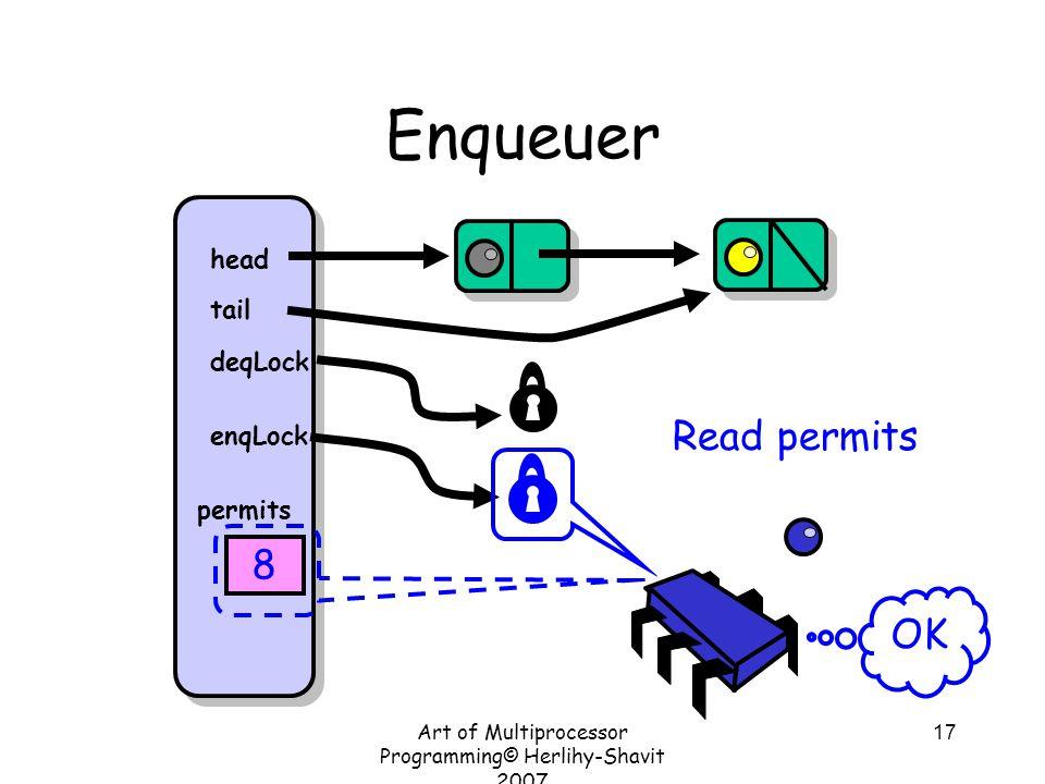 Art of Multiprocessor Programming© Herlihy-Shavit 2007 17 Enqueuer head tail deqLock enqLock permits 8 Read permits OK