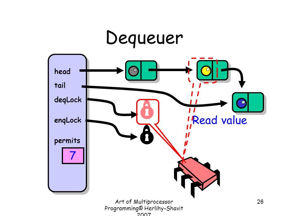 Art of Multiprocessor Programming© Herlihy-Shavit 2007 26 Dequeuer head tail deqLock enqLock permits 7 Read value