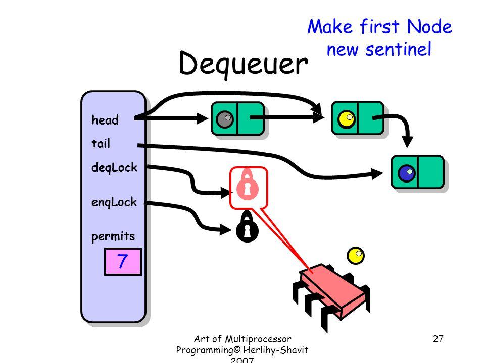 Art of Multiprocessor Programming© Herlihy-Shavit 2007 27 Dequeuer head tail deqLock enqLock permits 7 Make first Node new sentinel