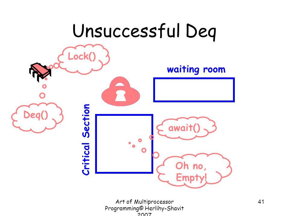 Art of Multiprocessor Programming© Herlihy-Shavit 2007 41 Unsuccessful Deq Critical Section waiting room Lock() await() Deq() Oh no, Empty!