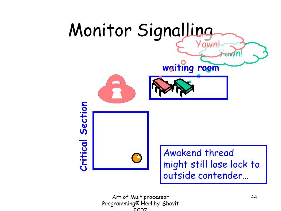 Art of Multiprocessor Programming© Herlihy-Shavit 2007 44 Yawn! Monitor Signalling Critical Section waiting room Yawn! Awakend thread might still lose