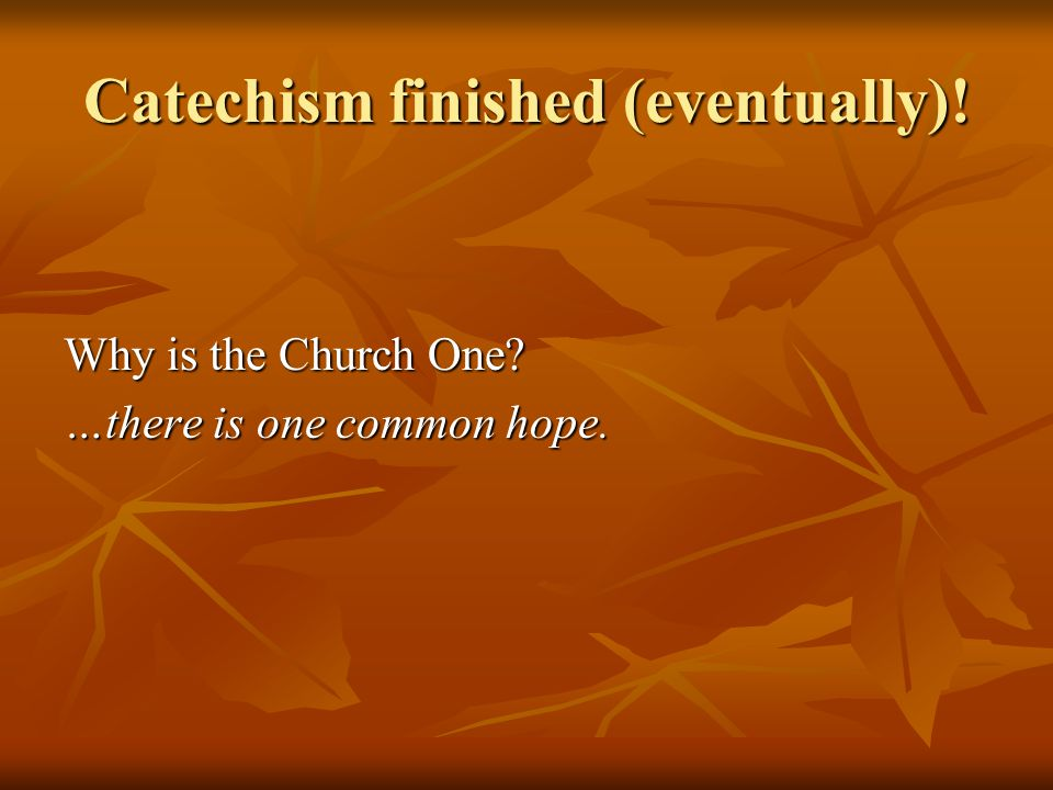 Catechism finished (eventually)! Why is the Church One …there is one common hope.