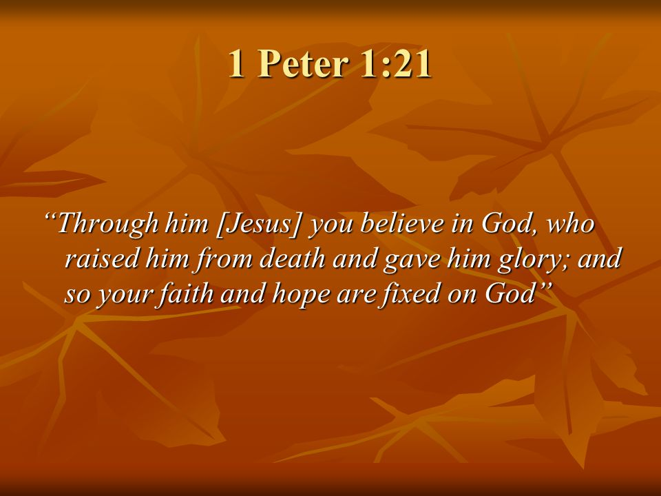 1 Peter 1:21 Through him [Jesus] you believe in God, who raised him from death and gave him glory; and so your faith and hope are fixed on God