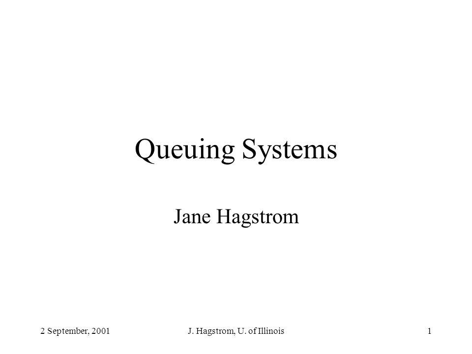 2 September, 2001J. Hagstrom, U. of Illinois1 Queuing Systems Jane Hagstrom