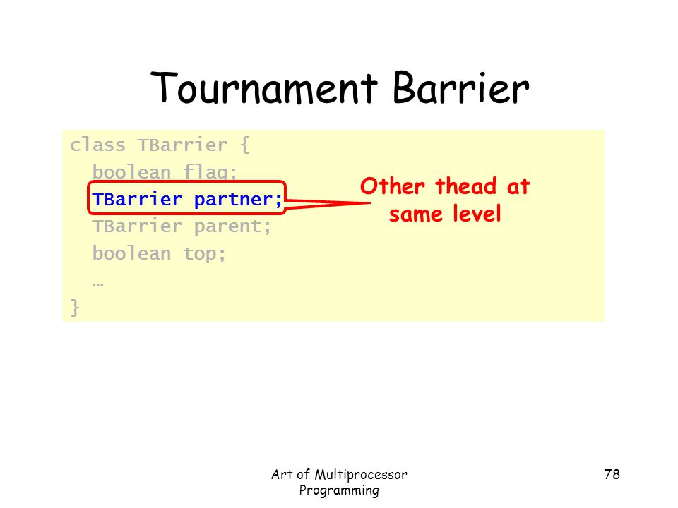 Art of Multiprocessor Programming 78 Tournament Barrier class TBarrier { boolean flag; TBarrier partner; TBarrier parent; boolean top; … } Other thead