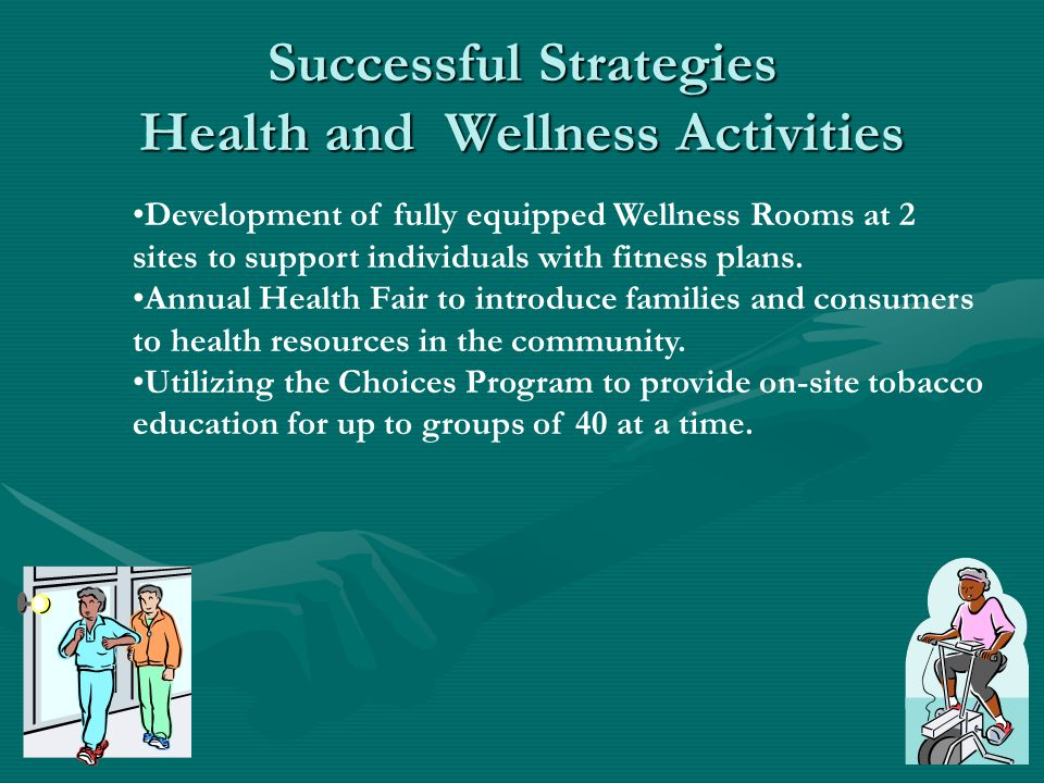 Successful Strategies Health and Wellness Activities Development of fully equipped Wellness Rooms at 2 sites to support individuals with fitness plans.