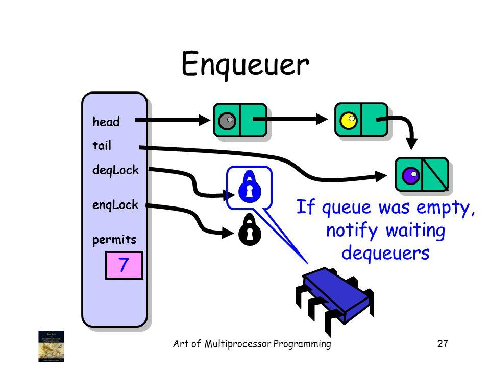 Art of Multiprocessor Programming27 Enqueuer head tail deqLock enqLock permits 7 If queue was empty, notify waiting dequeuers