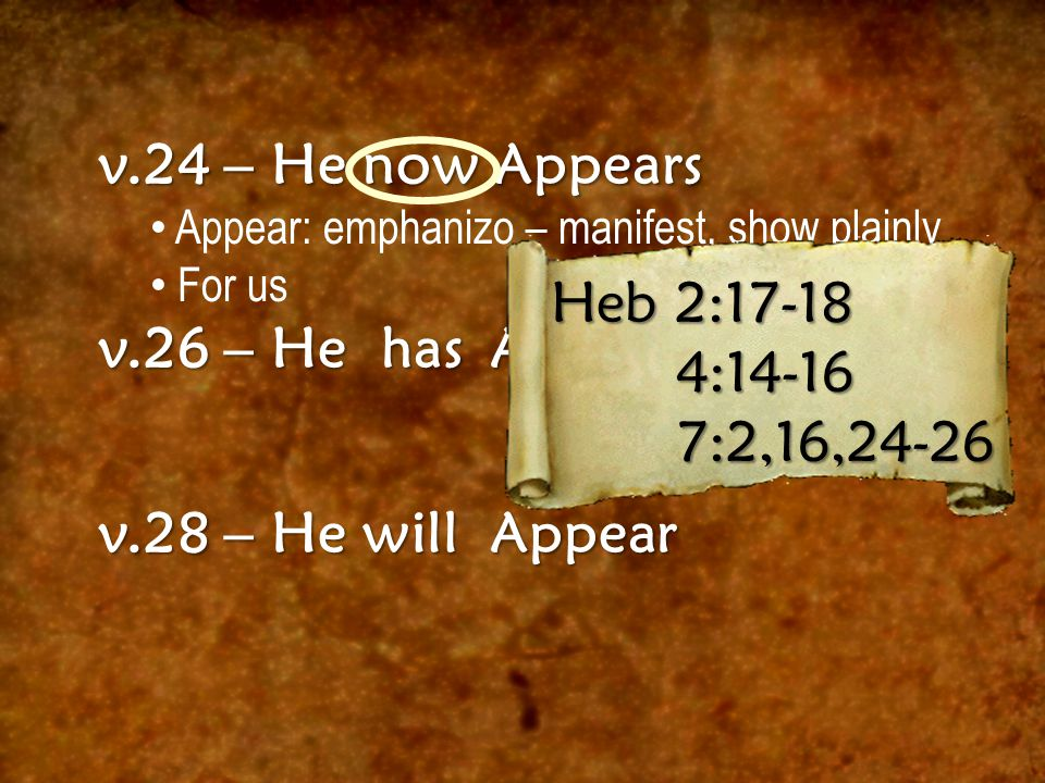 v.24 – He now Appears Appear: emphanizo – manifest, show plainly For us v.26 – He has Appeared v.28 – He will Appear Heb 2:17-18 4:14-16 7:2,16,24-26