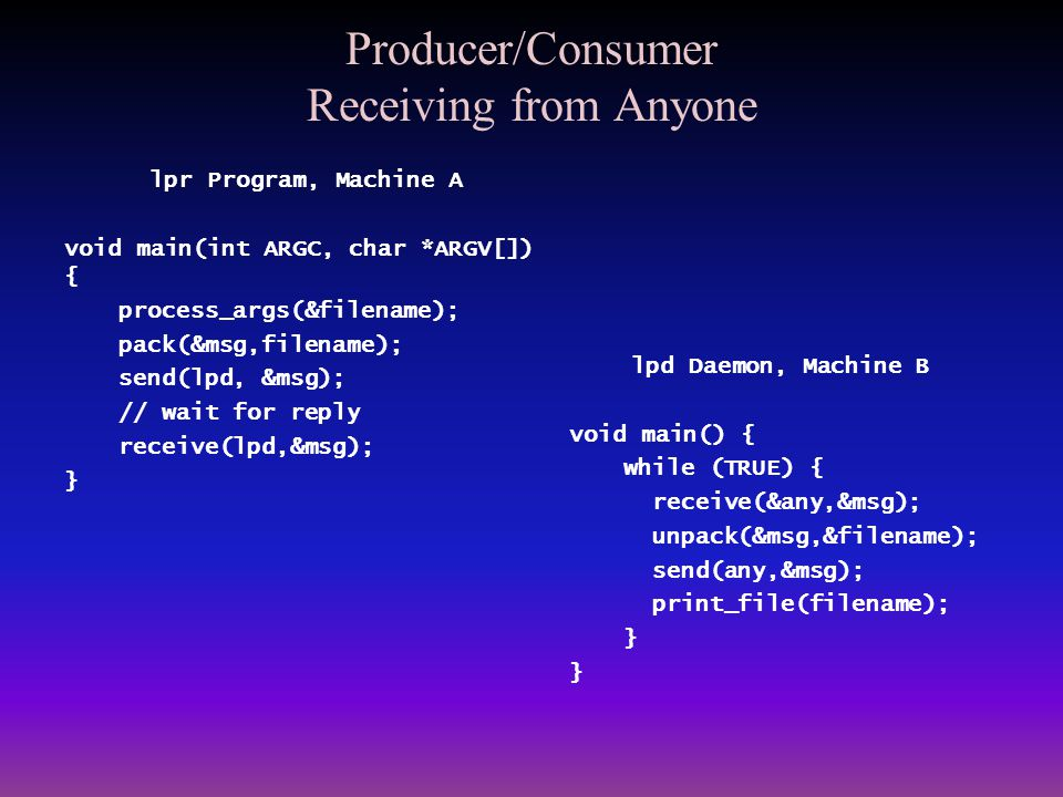 Producer/Consumer Receiving from Anyone lpr Program, Machine A void main(int ARGC, char *ARGV[]) { process_args(&filename); pack(&msg,filename); send(
