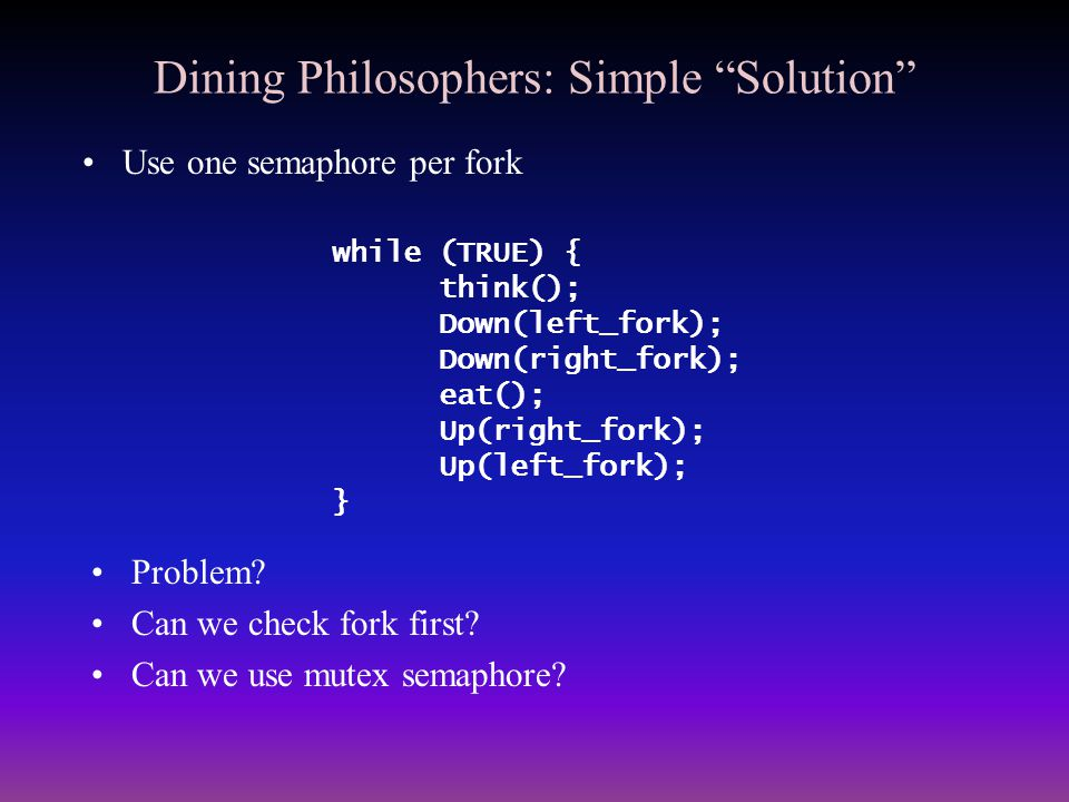 "Dining Philosophers: Simple ""Solution"" Use one semaphore per fork while (TRUE) { think(); Down(left_fork); Down(right_fork); eat(); Up(right_fork); Up"