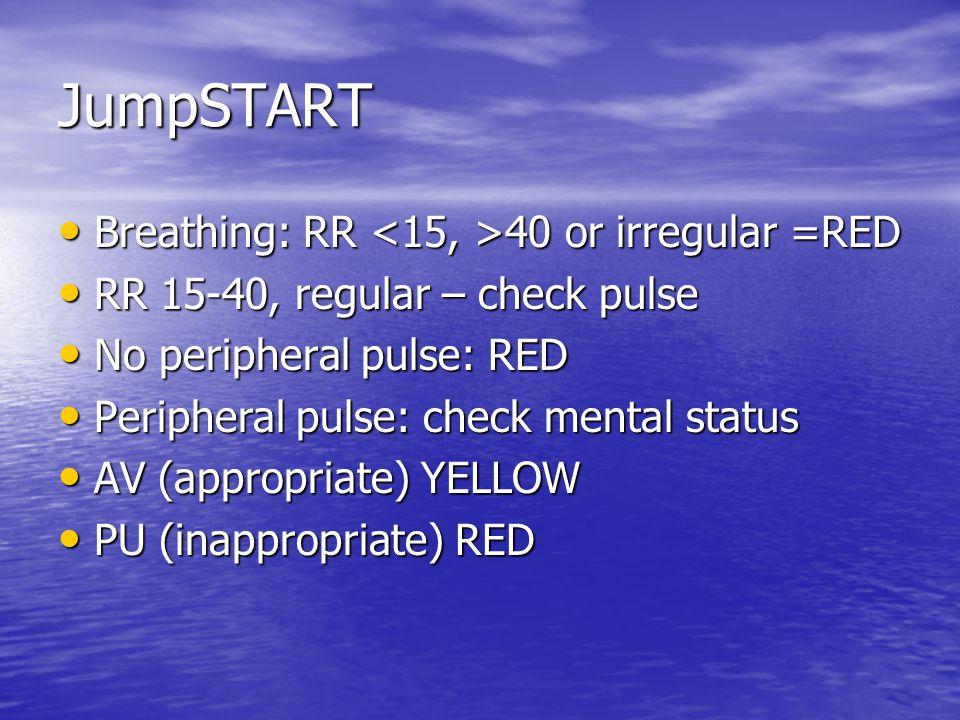 JumpSTART Breathing: RR 40 or irregular =RED Breathing: RR 40 or irregular =RED RR 15-40, regular – check pulse RR 15-40, regular – check pulse No peripheral pulse: RED No peripheral pulse: RED Peripheral pulse: check mental status Peripheral pulse: check mental status AV (appropriate) YELLOW AV (appropriate) YELLOW PU (inappropriate) RED PU (inappropriate) RED