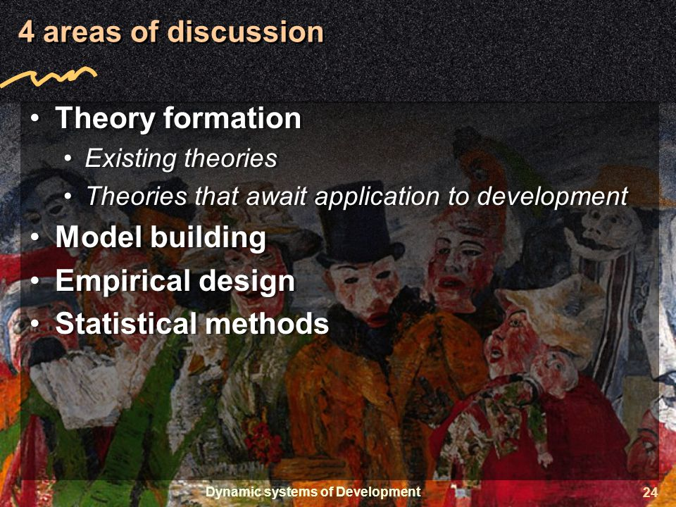 Dynamic systems of Development 24 4 areas of discussion Theory formation Existing theories Theories that await application to development Model building Empirical design Statistical methods Theory formation Existing theories Theories that await application to development Model building Empirical design Statistical methods