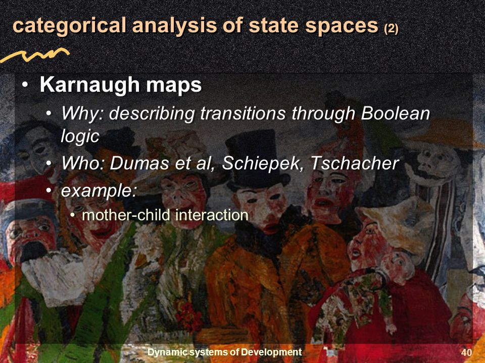 Dynamic systems of Development 40 categorical analysis of state spaces (2) Karnaugh maps Why: describing transitions through Boolean logic Who: Dumas et al, Schiepek, Tschacher example: mother-child interaction Karnaugh maps Why: describing transitions through Boolean logic Who: Dumas et al, Schiepek, Tschacher example: mother-child interaction