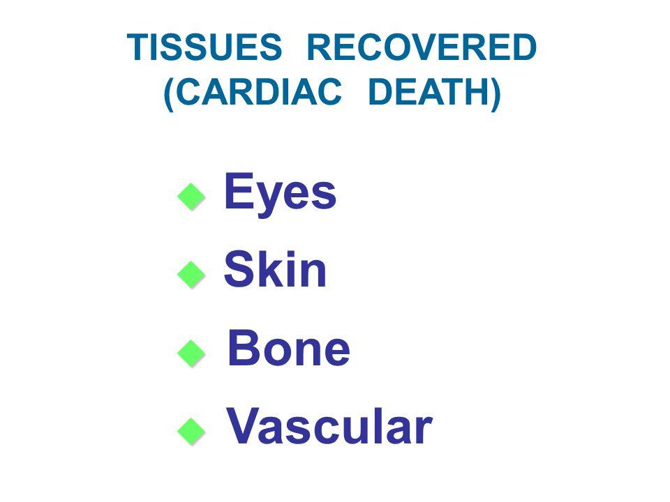 TISSUES RECOVERED (CARDIAC DEATH)   Eyes   Skin   Bone   Vascular