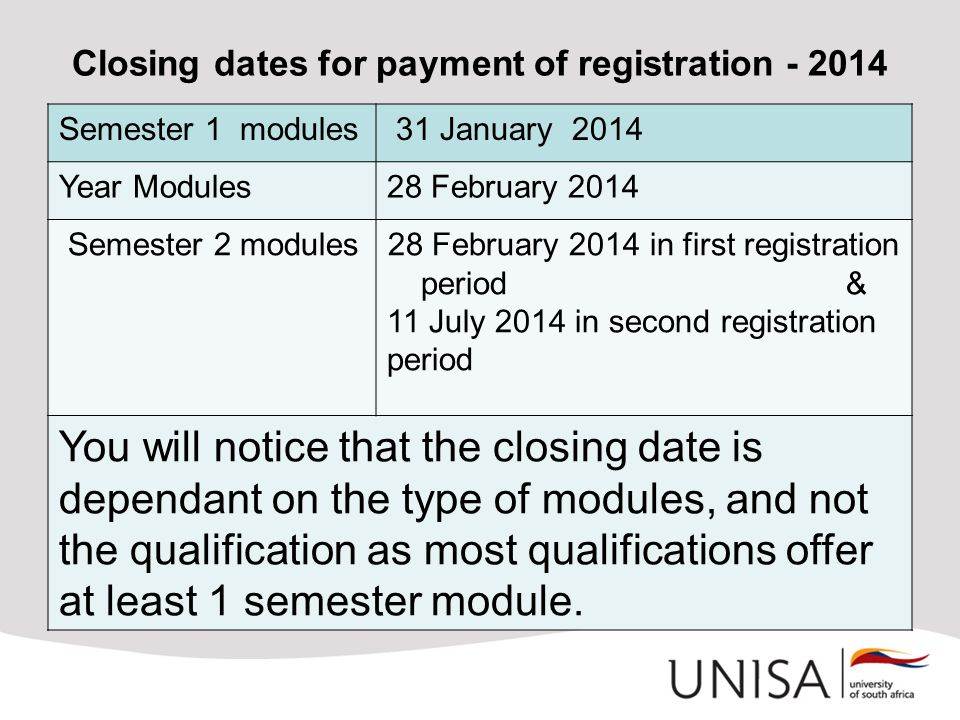 Closing dates for payment of registration - 2014 Semester 1 modules 31 January 2014 Year Modules28 February 2014 Semester 2 modules28 February 2014 in
