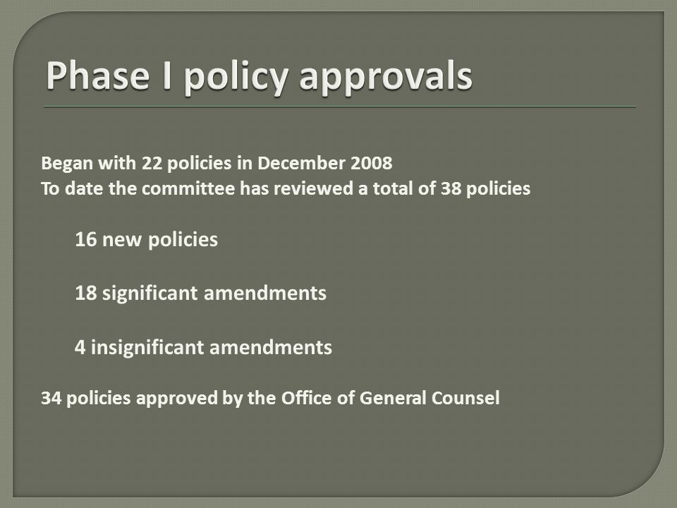 Launched new website in November 2009 that matched the look and feel of UTSA's homepage Created new pages in effort to increase transparency of policy process: What's New – policy changes over the past 90 days Policy Approval Process – brief description of the committee, includes process flowchart Policy Revision Process – states every policy will be reviewed, at a minimum, every four years.