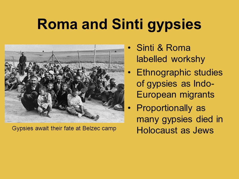 Roma and Sinti gypsies Sinti & Roma labelled workshy Ethnographic studies of gypsies as Indo- European migrants Proportionally as many gypsies died in