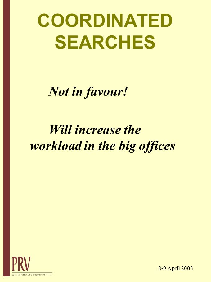 8-9 April 2003 COORDINATED SEARCHES Not in favour! Will increase the workload in the big offices
