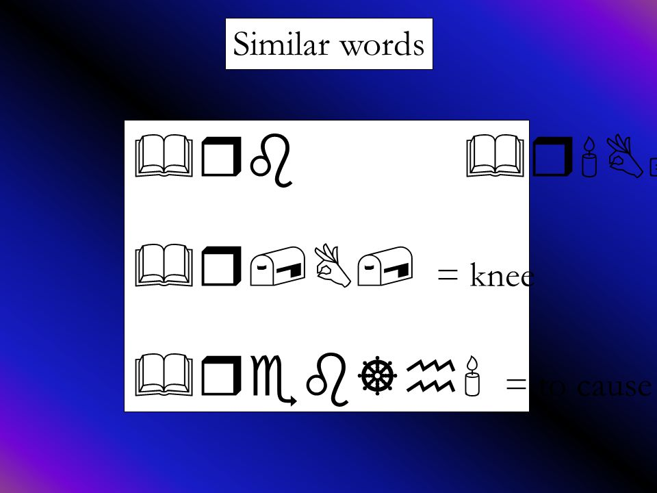 Similar words &rb &r B; = to kneel &r,B, = knee &reb]h = to cause to kneel